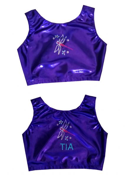 EARL412 Plain and Personalised Metallic and Velour Crop Tops With Dragonfly Motif  From £18.95
